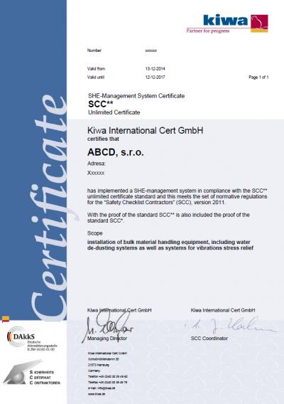 SCC certifikát | Sigmapoint.cz